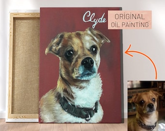 Dog art commission - Realistic animal portrait oil painting from photo - Custom pet owner gift - Paint your lover pet on canvas - Dog art