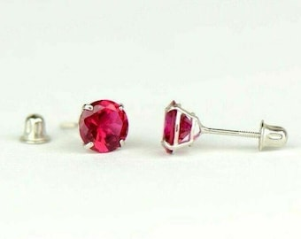 .66 CARAT RUBY STUD EARRINGS 4mm ROUND CUT 14KT YELLOW GOLD JULY BIRTH STONE
