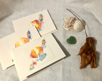 Abstract Hand-Painted Greeting Card (Sol Dance, Elements Series), blank inside - Three Cards