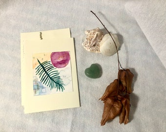Abstract Hand-Painted Greeting Card (Tropical Infusion Series), blank inside - Single Card - Paper Upgrade