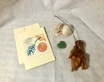 Abstract Hand-Painted Greeting Card (Tropical Infusion Series), blank inside - Single Card