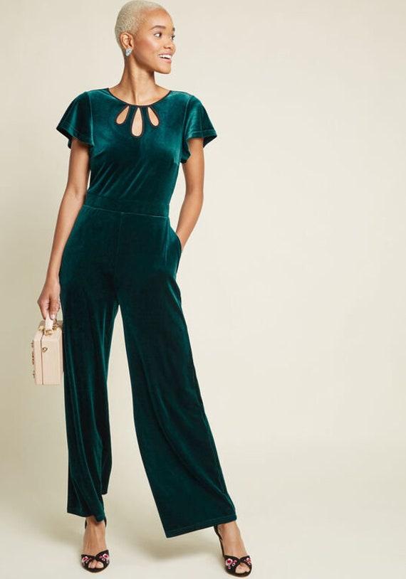 1930s Style ModCloth Emerald Velvet Jumpsuit
