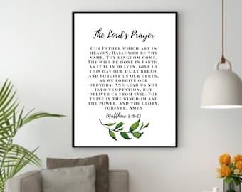 Matthew 6:9-13, Bible Verse Wall Art, Printable Christian Wall Art, Living Room Home Decor, Scripture Quote Wall Art, Bible Quote Gift Idea