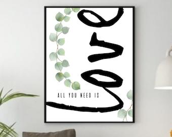 Inspirational Wall Art Decor, Love Sign Wall Art, Botanical Print, Inspirational Quotes Download, Inspirational Gift for Women, Boho Print