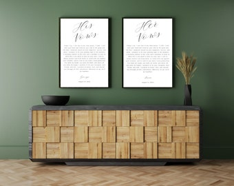 Wedding Vows Print, Wedding Ceremony Vows,   Wedding Vows Framed, His Hers Wedding Band Vows,  1st Anniversary Gift, Gift for parents,