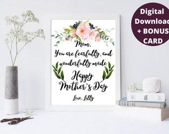 Personalized Mothers Day Gift, +1 BONUS Card, Unique Great Gift idea For Mother's Day, Gift for Mom, Grandma, Nana, Mum, Printable Wall Art