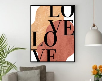 Love Sign Wall Art, Inspirational Wall Art Decor, Boho Wall Print, Inspirational Quotes Download, Inspirational Gift for Women, Couple's Art
