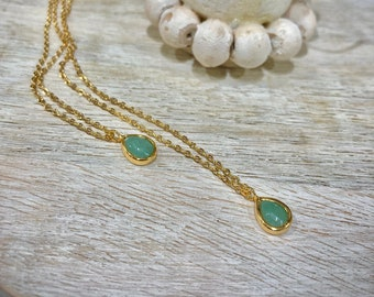 Teardrop Green Jade Necklace with Gold Plated Chain- Ideal for Birthdays, Holidays, Graduations, Bridesmaids, Anniversaries, Stocking Gifts