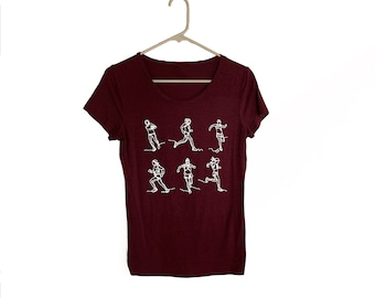 Maroon Women's T Shirt 6 Runners (Size Medium)