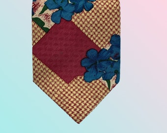 Oxford Club | Vintage Necktie | Floral and Geometric Patterned Tie | Maroon, Green, Beige and Blue Colour | Rare to Find