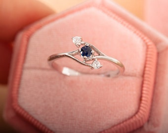 Blue Sapphire Ring  9k solid gold  Gold Ring   Birthday Ring   Statement Ring  Solitaire Rings  Gemstone Ring  Gift  Cz white