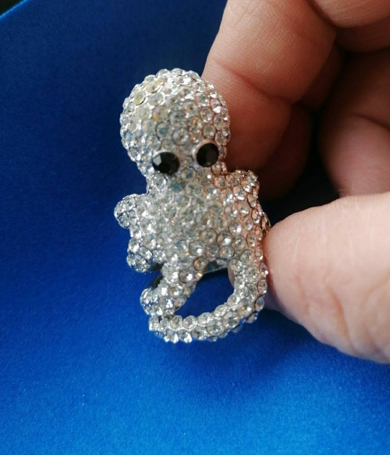 Octopus ring tentacles pav\u00e8 of vintage rhinestones