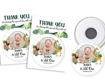 Wild one party favors, personalized magnets, boy birthday thank you gifts