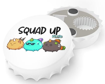 Squad Up Axie Infinity Game | Cryptocurrency Eth SLP AXE Bottle Opener | Home Kitchen Tools Personalized Gift for Crypto Investor Stock