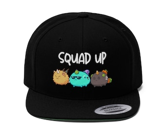 Squad Up Axie Infinity Game | NFT Adult Unisex Snapback Hat Cap | Cryptocurrency Eth SLP AXE | Video Computer Gamer