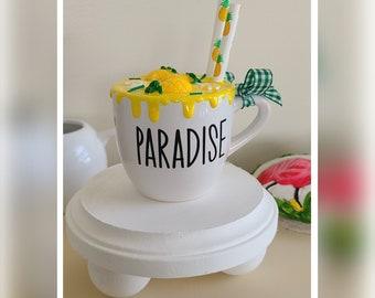 Pineapple Mini Mug/Farmhouse Decor/Perfect for Tier Trays/Paradise/Summer Theme