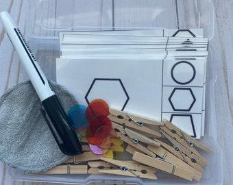 Shape clip cards-matching-homeschool-Montessori-work bin-busy bin-task bin-task cards-early finisher box-IEP bins-preschool-Kindergarten