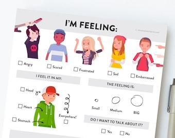 Feelings Worksheet for Teens. Teenage Emotional Awareness Chart. Emotions Feelings Activity. A digital download