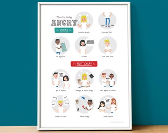When I'm Feeling Angry. A poster for kids learning to calm down when angry feelings take over. DIGITAL DOWNLOAD