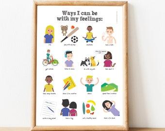 Ways To Feel Through Feelings Poster for Kids. Kids Emotional Awareness Chart. Emotions Feelings Activity. Self Soothing. Digital download