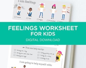 Feelings Chart For Kids - I Am Feeling digital download
