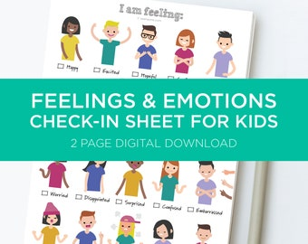 Feelings Worksheet for Kids. Emotions Feelings Activity. Child Therapist Tool. Child Psychologist Check-In Sheet. A digital download