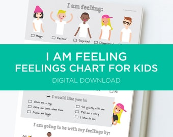 Feelings Chart For Kids - I am feeling Happy, Excited, Surprised, Disappointed & Nervous. A digital download