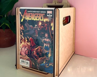 Comic Book Storage with Display Box Store Comics Eco Friendly, Wood Box with Lid