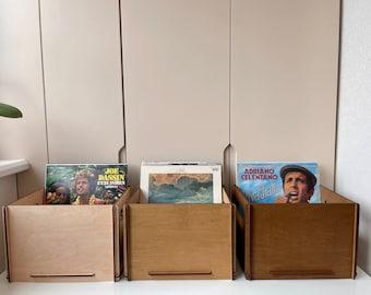 Record storage crate, Vinyl record organizer, Wood storage box