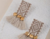 ethnic tassel earrings with metallic gold coins, beige color, boho style, Greek summer earrings, beach wedding occasion, gift for her,