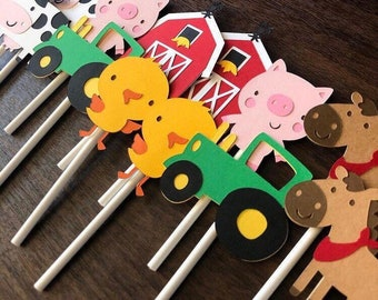 Farm Cupcake Toppers, Red Barn Party Decor, Barn Cupcake Toppers, Farm Animal Cupcake Toppers