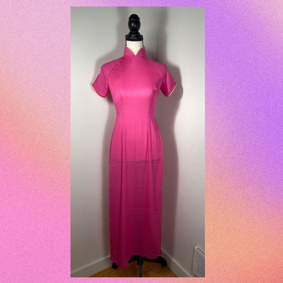 Vintage 90's Pink Qipao Style Dress | SIZE S - image 4