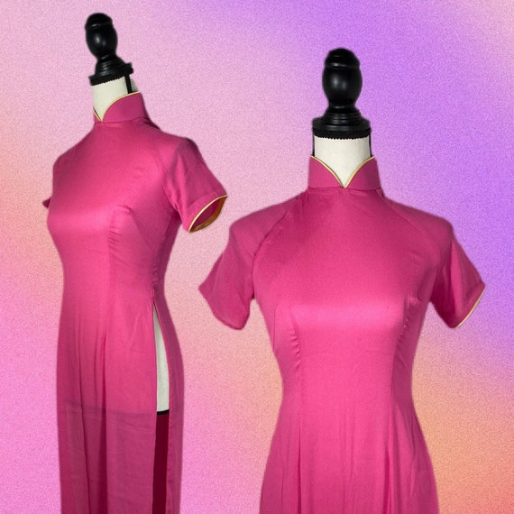 Vintage 90's Pink Qipao Style Dress | SIZE S - image 3