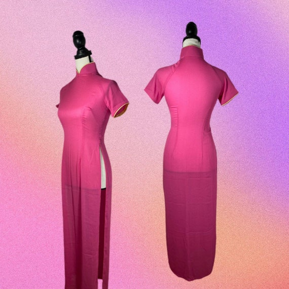 Vintage 90's Pink Qipao Style Dress | SIZE S - image 2