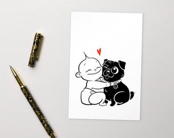 Hug a Pug Postcard