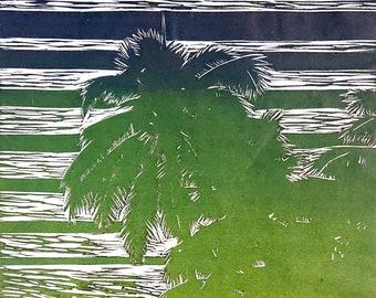 Palm Dreams Monotype Print