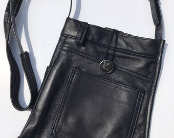 Black recycled leather shoulder bag, made from pants