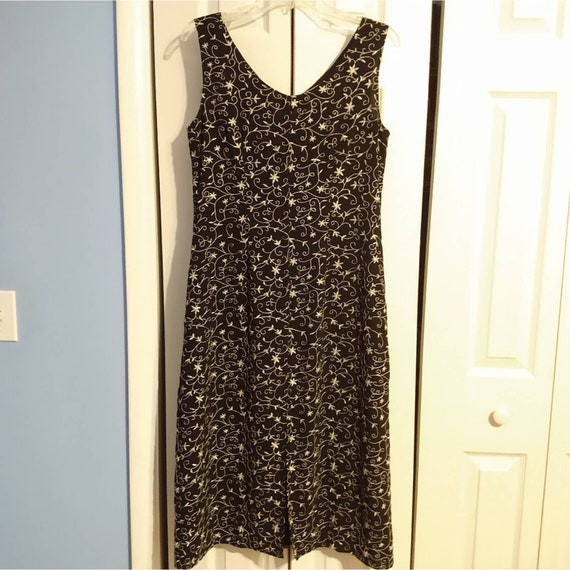 Size 8 Laura Ashley 1990s Style Black Embroidered… - image 2
