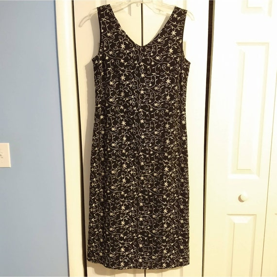 Size 8 Laura Ashley 1990s Style Black Embroidered… - image 1