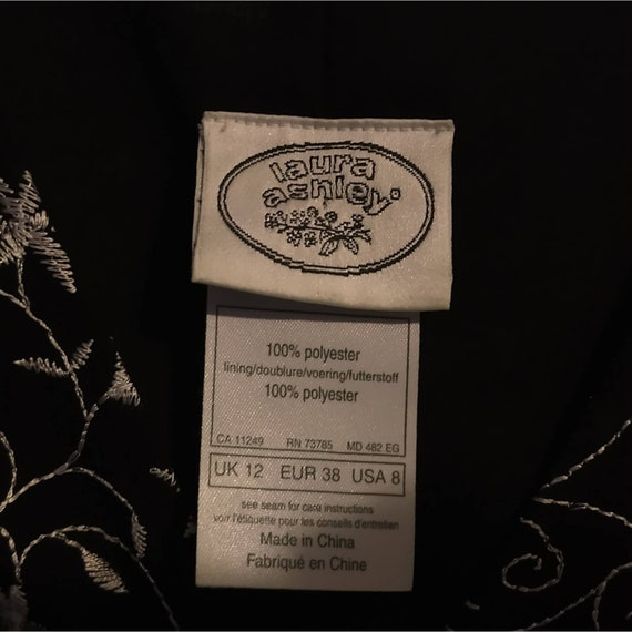 Size 8 Laura Ashley 1990s Style Black Embroidered… - image 3