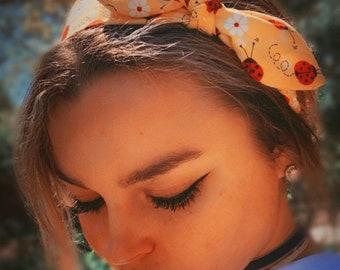 cute ladybug facemask scrunchie hairband