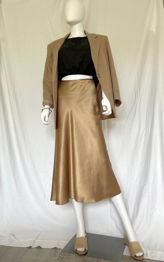 Modern Silk midi Skirt, Silk slip Hight waist skir