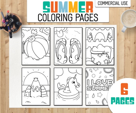 Summer Coloring Pages  Beach Coloring pages  KDP Ready