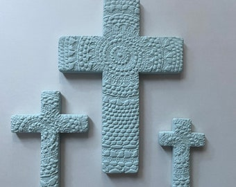 Ocean Blue Textured Clay Boho Cross Crucifix Hanging Wall Tile Bohemian Home Decor Ceramic Coastal Beach Hamptons Art Ornament Decoration