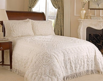 Vintage Chenille White Bed Cover Purple Blue Design 1950s  Bedspread