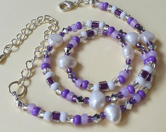 Pearl and purple necklace, Purple beaded necklace, Freshwater pearl and bead necklace,  Mixed bead necklace, Christmas gift for friend