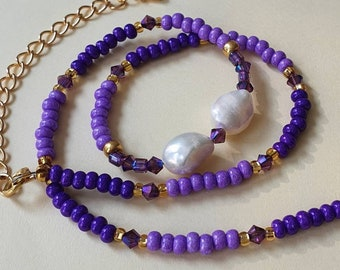 Pearl and purple bead necklace, Freshwater pearl and bead necklace, Beaded necklace UK, Mixed bead necklace, Christmas gift for friend