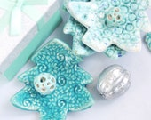 Christmas tree plate, tea bag holder,  Ceramic tree shaped plate, Christmas home decor, holiday jewelry dish, handmade candle holder