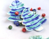 Christmas tree plate set, holiday jewelry dish,  Ceramic tree shaped plate, Christmas Decor, Ceramic ring dish, new year gift