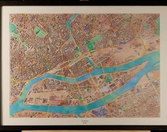 Map of Nantes in 3D pastel colors with frame